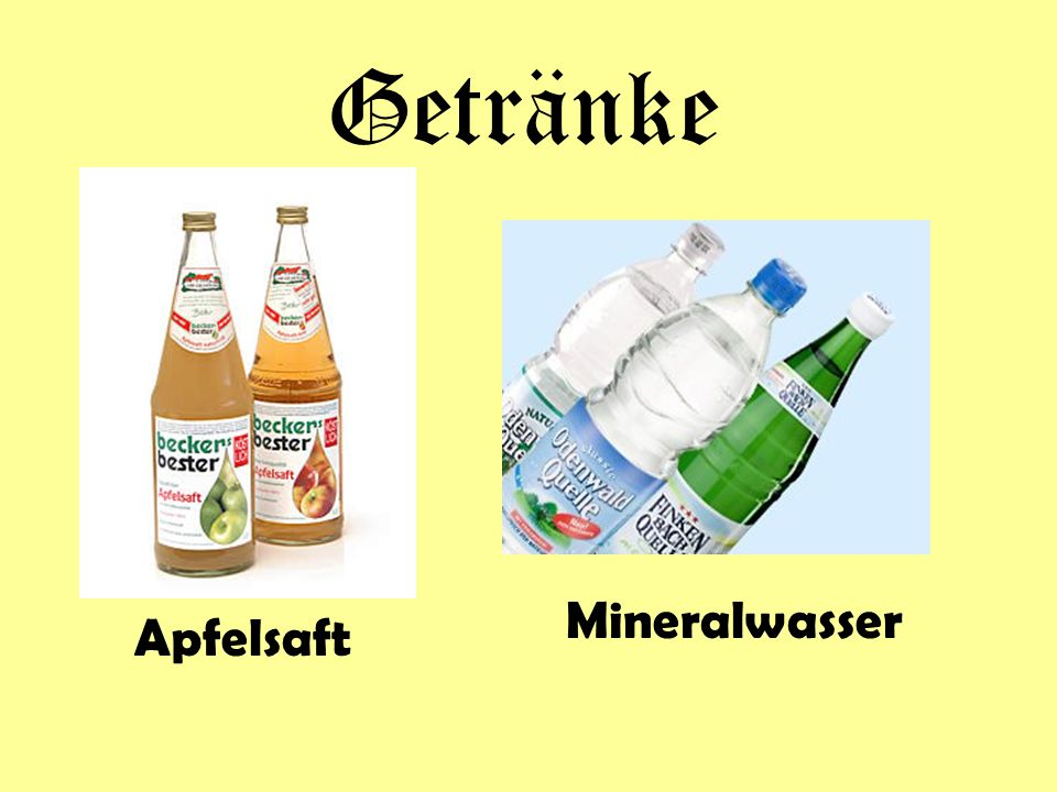 Getränke Mineralwasser Apfelsaft