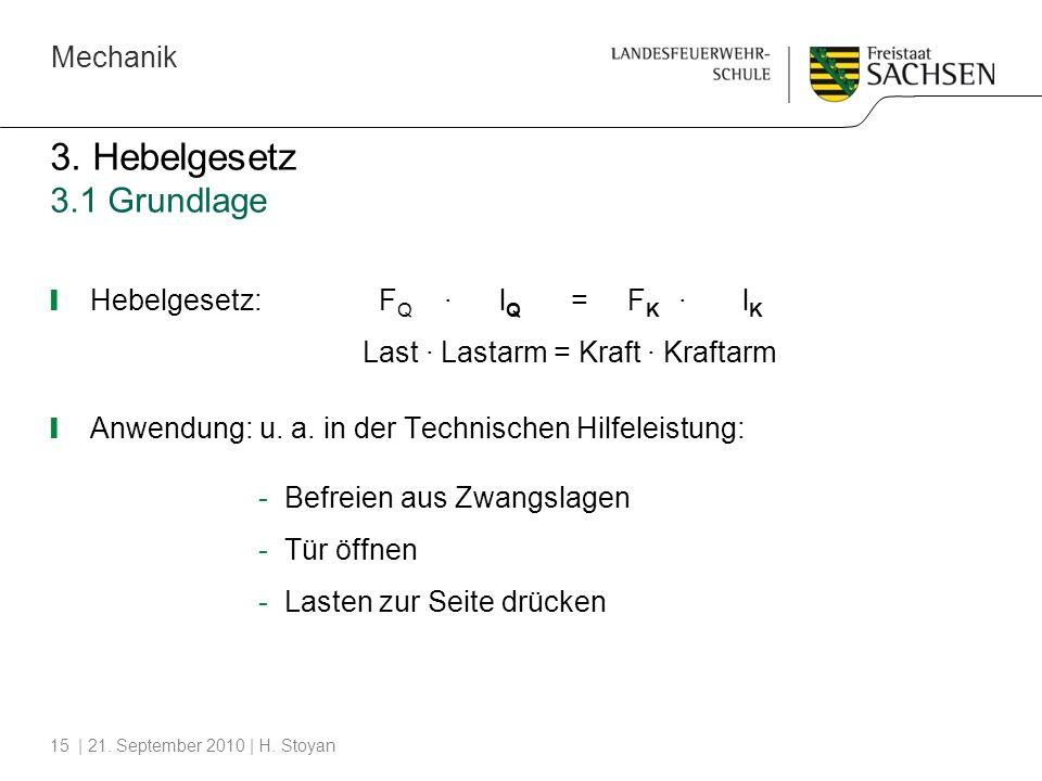 3. Hebelgesetz 3.1 Grundlage