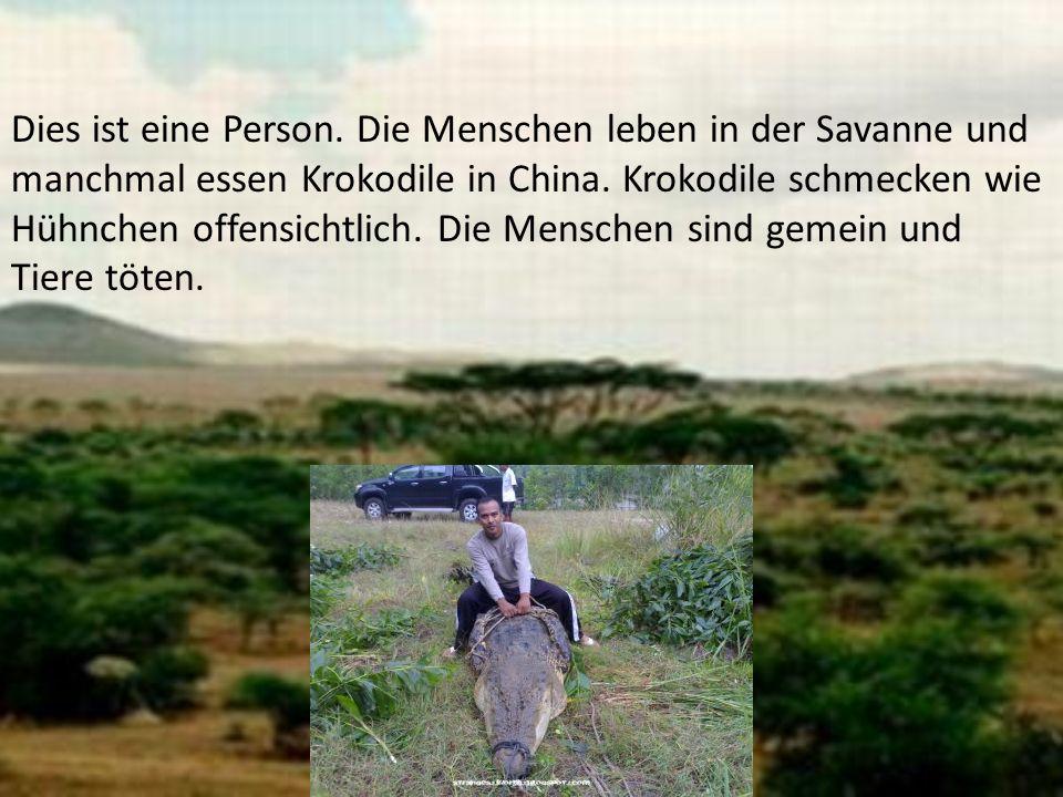 Dies ist eine Person. Die Menschen leben in der Savanne und manchmal essen Krokodile in China.