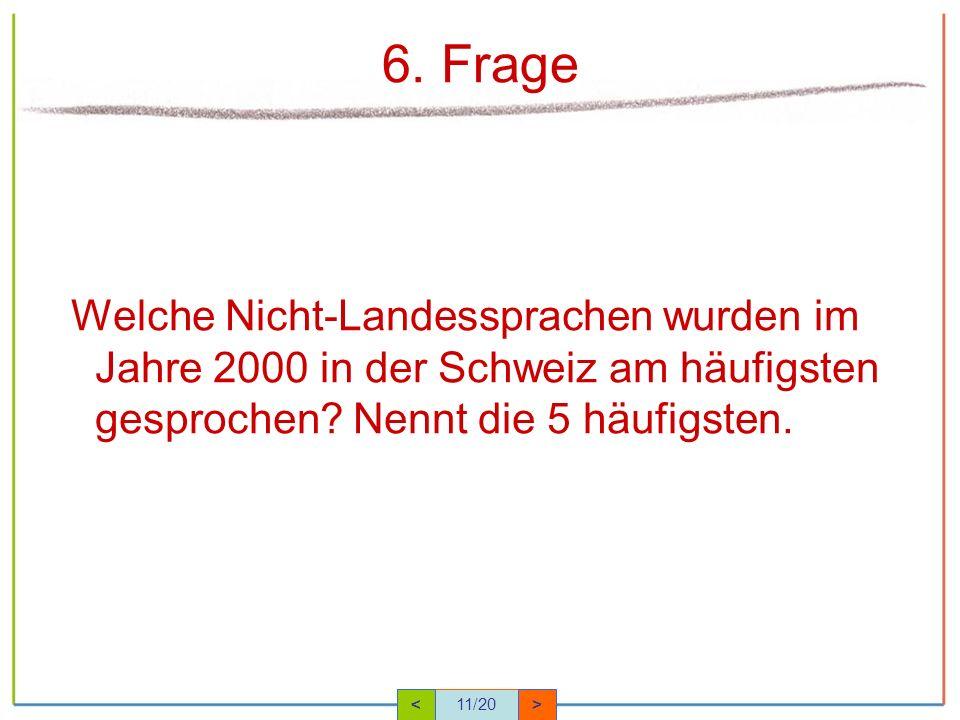 6. Frage Welche Nicht-Landessprachen wurden im Jahre 2000 in der Schweiz am häufigsten gesprochen Nennt die 5 häufigsten.