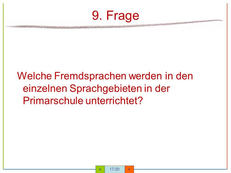 9. Frage Welche Fremdsprachen werden in den einzelnen Sprachgebieten in der Primarschule unterrichtet