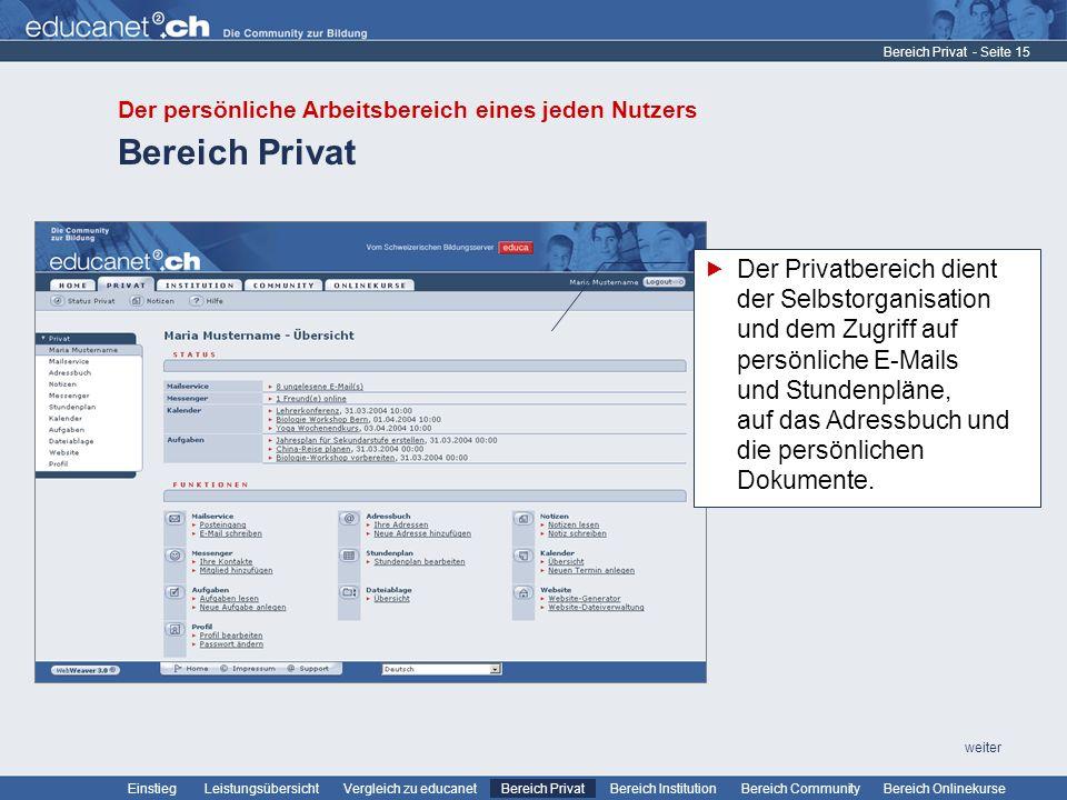 Bereich Privat Der persönliche Arbeitsbereich eines jeden Nutzers. Bereich Privat.
