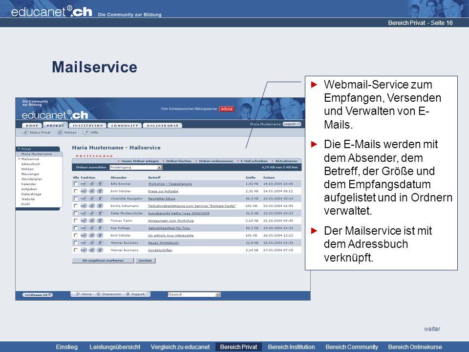 Bereich Privat Mailservice. Webmail-Service zum Empfangen, Versenden und Verwalten von E-Mails.