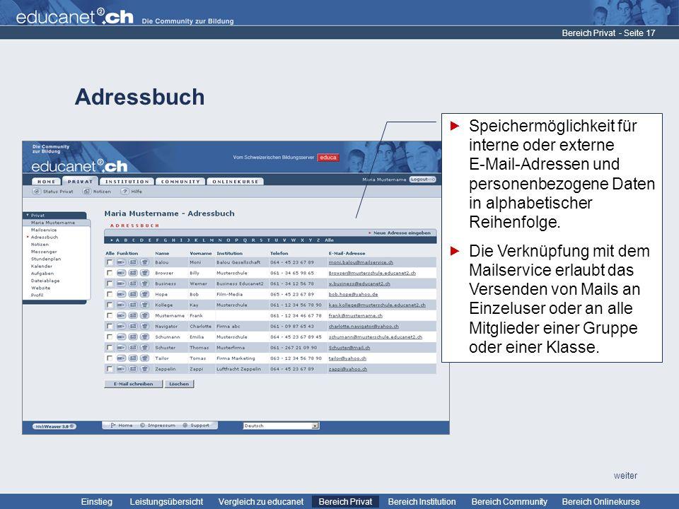 Bereich Privat Adressbuch. Speichermöglichkeit für interne oder externe E-Mail-Adressen und personenbezogene Daten in alphabetischer Reihenfolge.