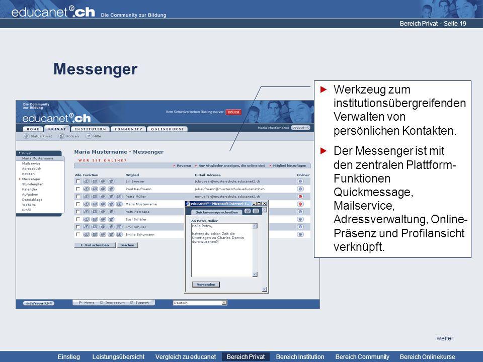 Bereich Privat Messenger. Werkzeug zum institutionsübergreifendenVerwalten von persönlichen Kontakten.