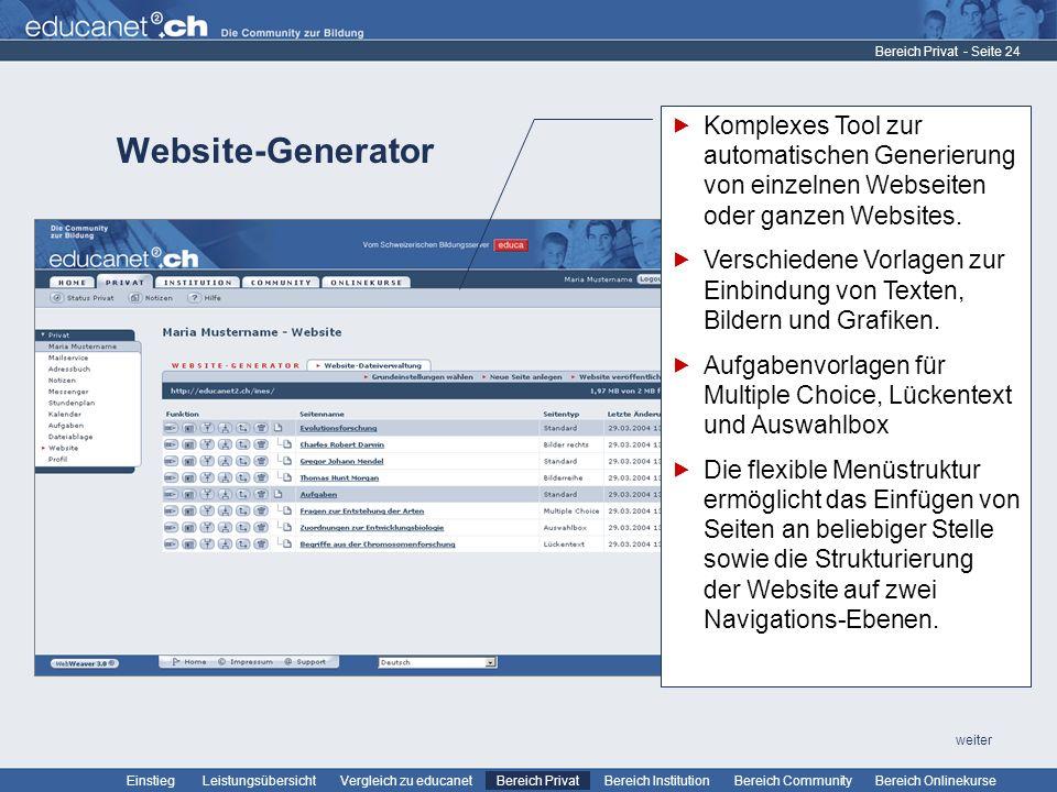 Bereich Privat Komplexes Tool zur automatischen Generierung von einzelnen Webseiten oder ganzen Websites.