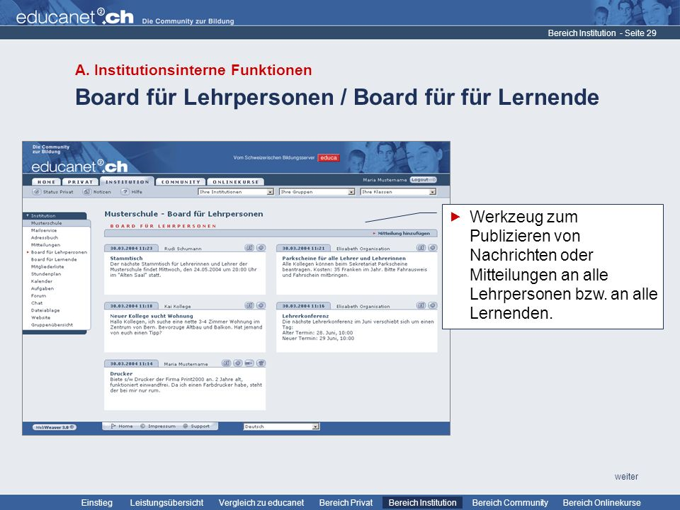 Board für Lehrpersonen / Board für für Lernende