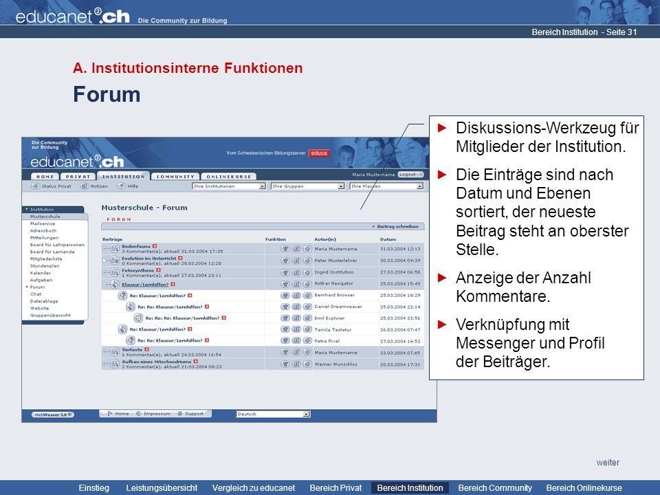 Forum Diskussions-Werkzeug für Mitglieder der Institution.