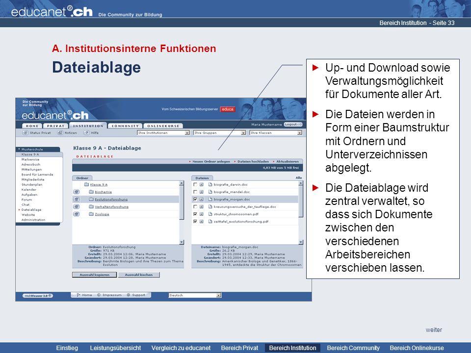 Bereich Institution A. Institutionsinterne Funktionen. Dateiablage. Up- und Download sowie Verwaltungsmöglichkeit für Dokumente aller Art.
