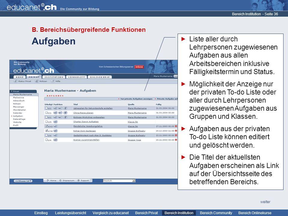 Bereich Institution B. Bereichsübergreifende Funktionen. Aufgaben.
