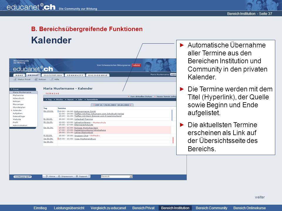 Bereich Institution B. Bereichsübergreifende Funktionen. Kalender.