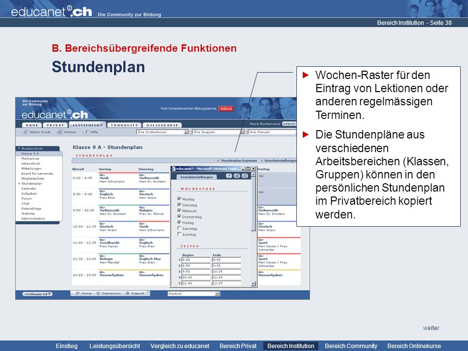 Bereich Institution B. Bereichsübergreifende Funktionen. Stundenplan.