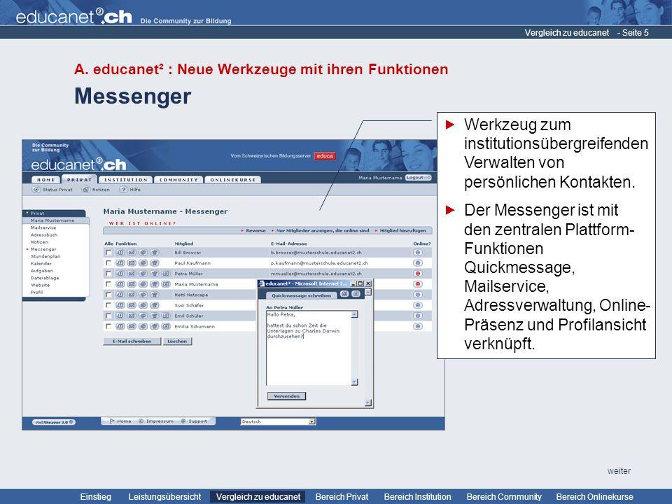 Vergleich zu educanet A. educanet² : Neue Werkzeuge mit ihren Funktionen. Messenger.