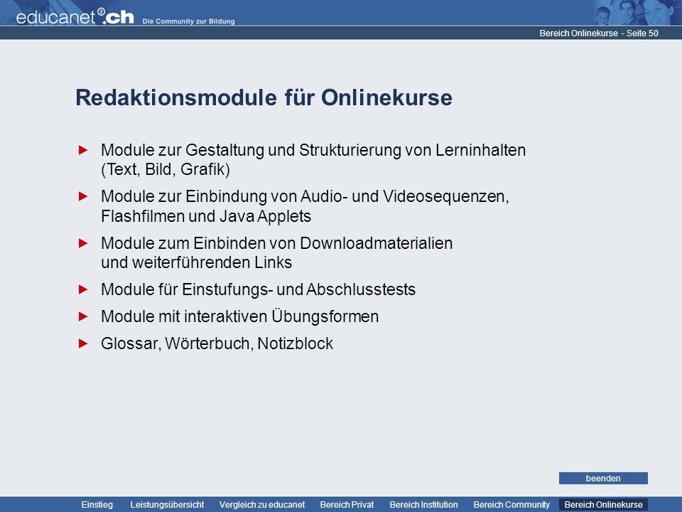 Redaktionsmodule für Onlinekurse