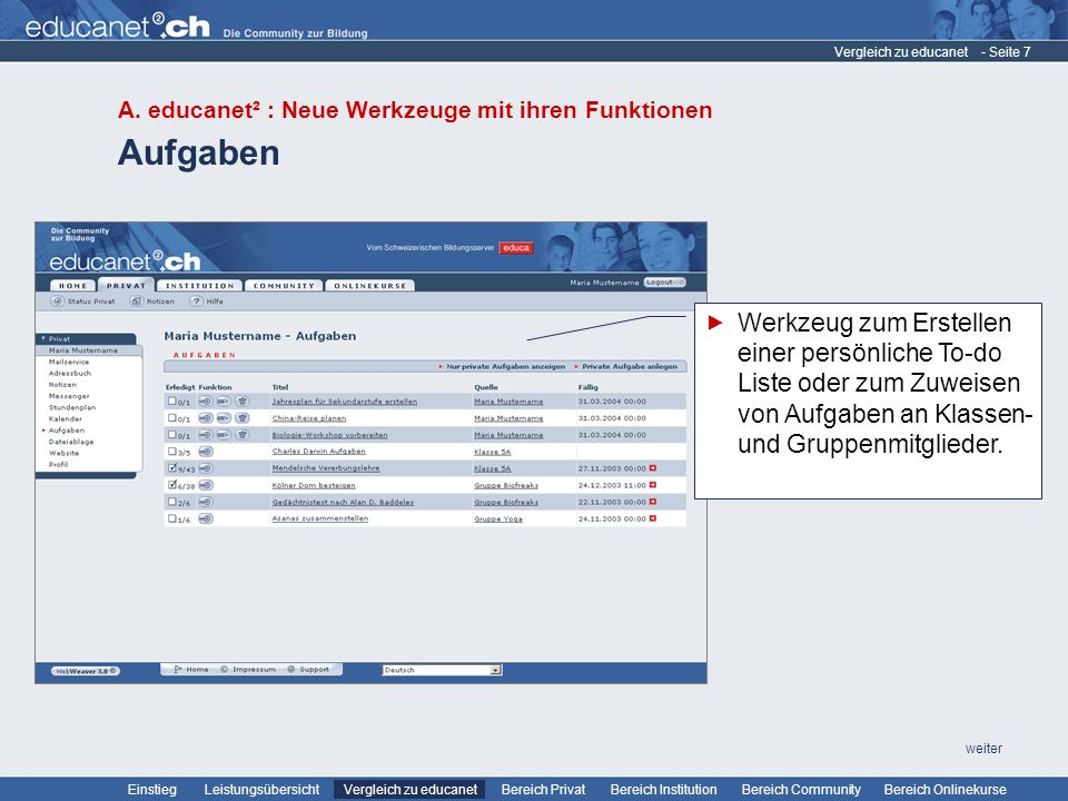 Vergleich zu educanet A. educanet² : Neue Werkzeuge mit ihren Funktionen. Aufgaben.