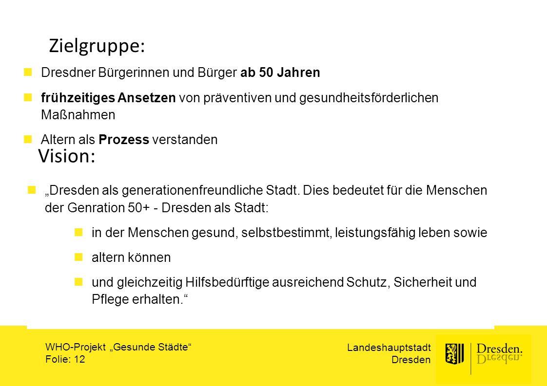 Zielgruppe: Vision: Dresdner Bürgerinnen und Bürger ab 50 Jahren