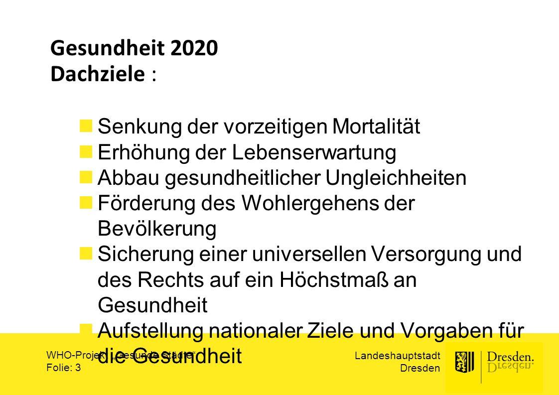 Gesundheit 2020 Dachziele :