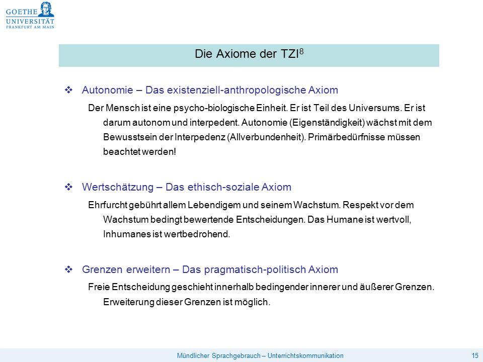 Die Axiome der TZI8 Autonomie – Das existenziell-anthropologische Axiom.
