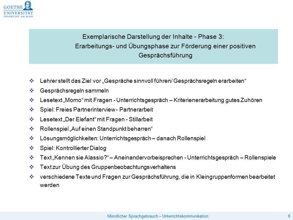 Exemplarische Darstellung der Inhalte - Phase 3: Erarbeitungs- und Übungsphase zur Förderung einer positiven Gesprächsführung