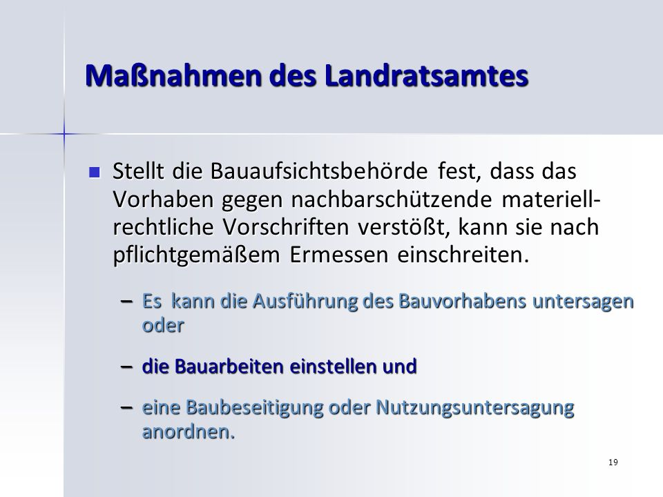 Maßnahmen des Landratsamtes