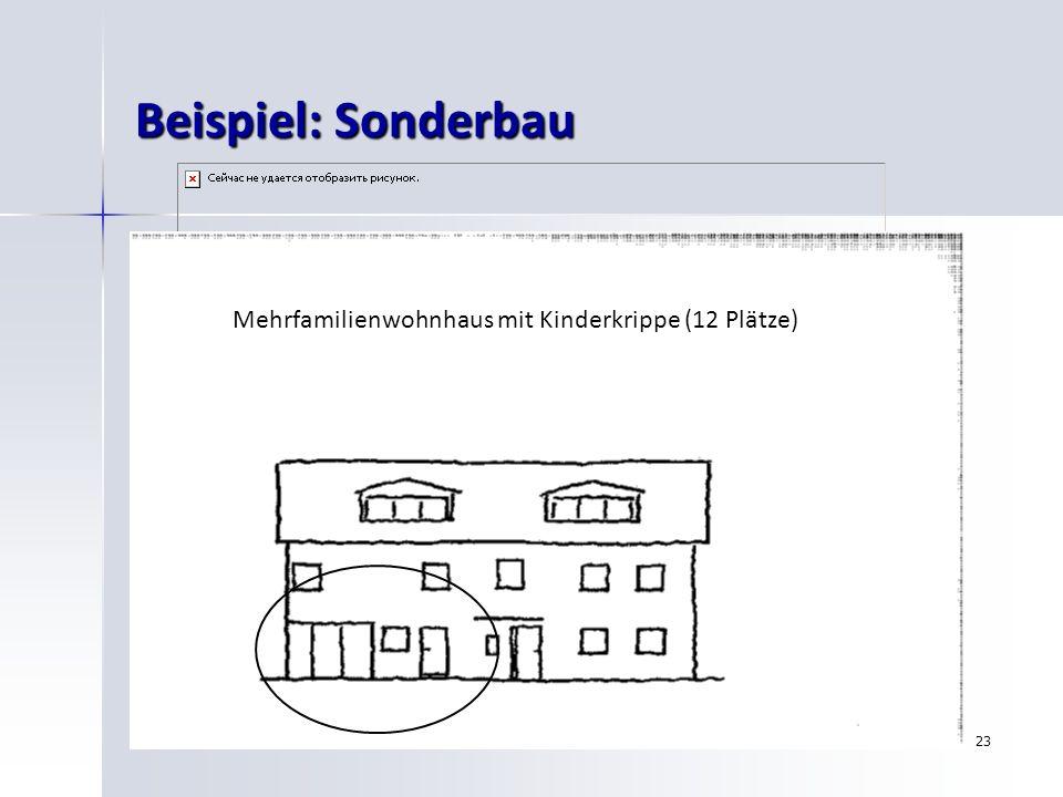 Beispiel: Sonderbau Mehrfamilienwohnhaus mit Kinderkrippe (12 Plätze)