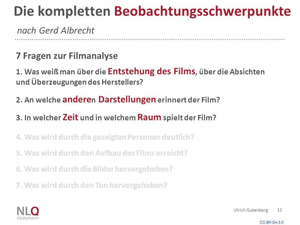 Die kompletten Beobachtungsschwerpunkte nach Gerd Albrecht 7 Fragen zur Filmanalyse