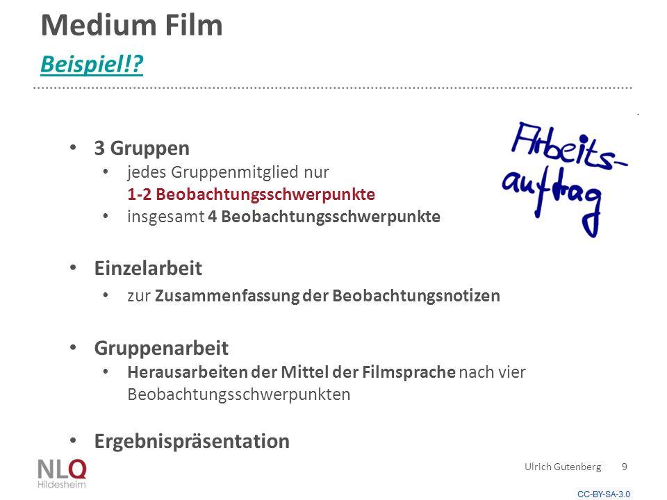 Medium Film Beispiel! 3 Gruppen Einzelarbeit Gruppenarbeit