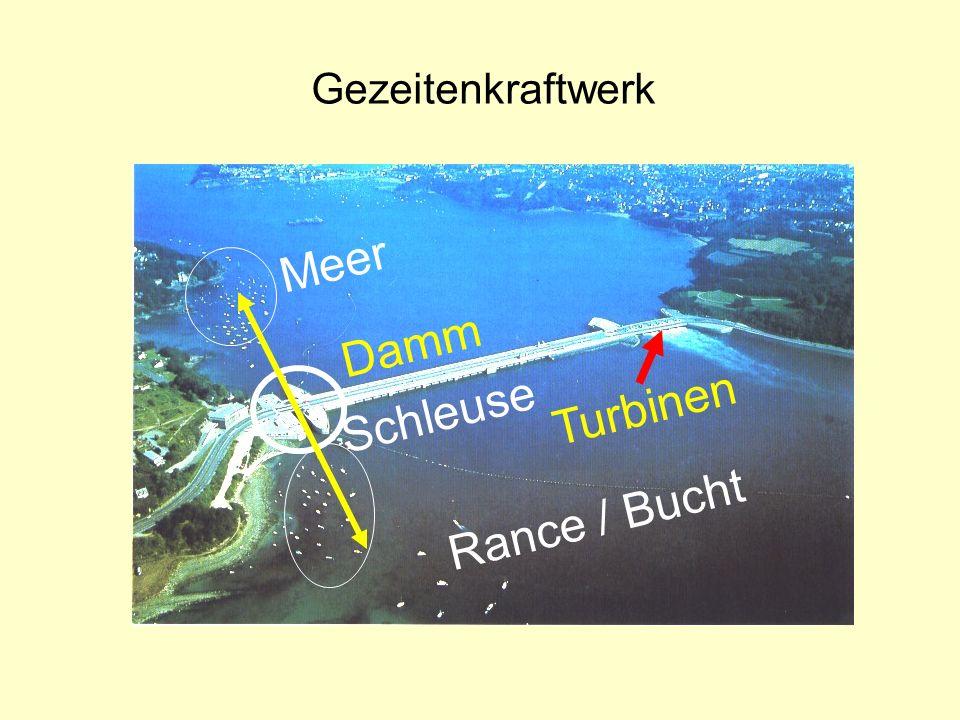 Gezeitenkraftwerk Meer Damm Turbinen Schleuse Rance / Bucht