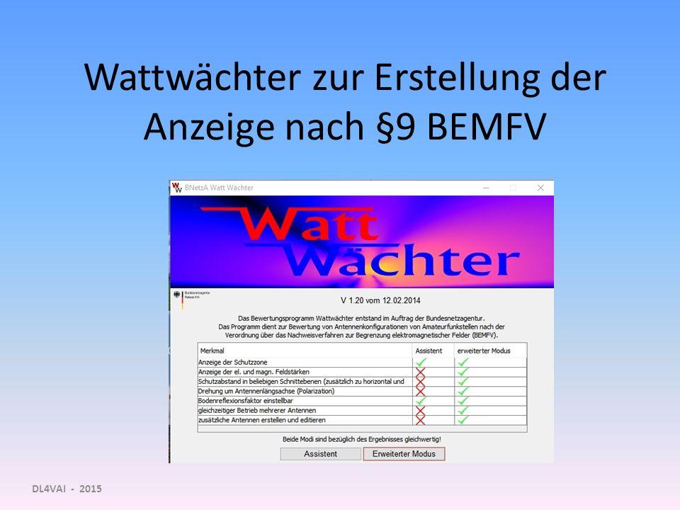 Wattwächter zur Erstellung der Anzeige nach §9 BEMFV