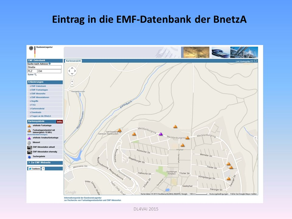 Eintrag in die EMF-Datenbank der BnetzA