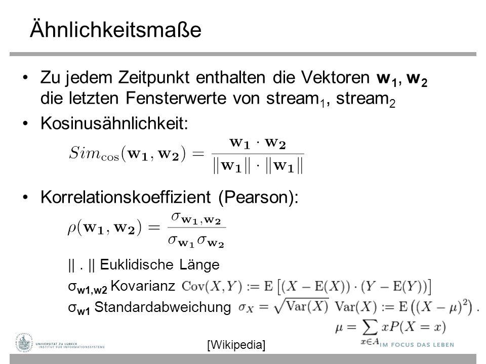 Ähnlichkeitsmaße Zu jedem Zeitpunkt enthalten die Vektoren w1, w2 die letzten Fensterwerte von stream1, stream2.