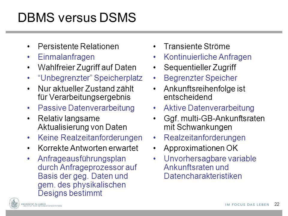 DBMS versus DSMS Persistente Relationen Einmalanfragen