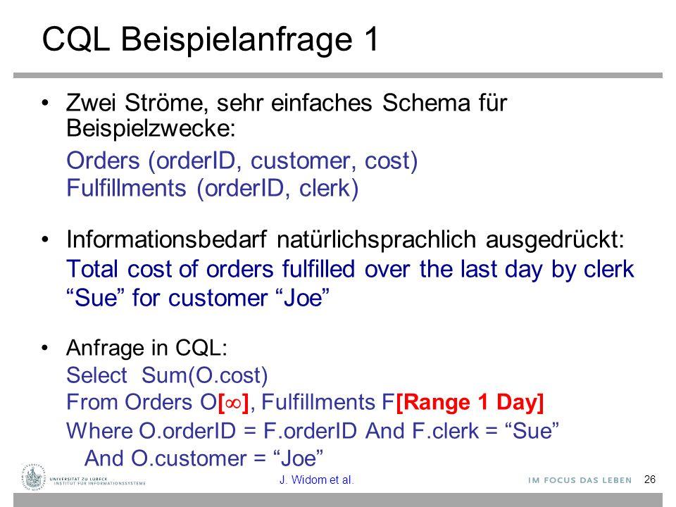 CQL Beispielanfrage 1 Zwei Ströme, sehr einfaches Schema für Beispielzwecke: Orders (orderID, customer, cost)
