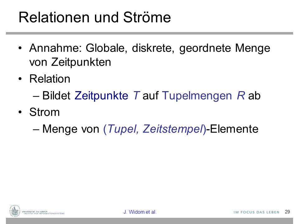 Relationen und Ströme Annahme: Globale, diskrete, geordnete Menge von Zeitpunkten. Relation. Bildet Zeitpunkte T auf Tupelmengen R ab.