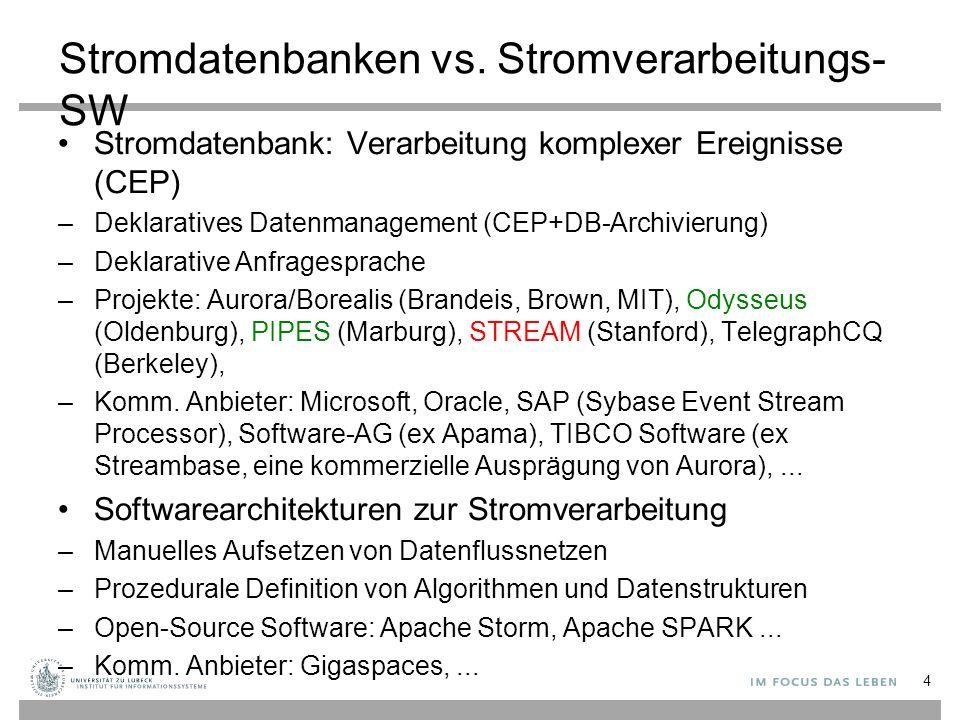 Stromdatenbanken vs. Stromverarbeitungs-SW