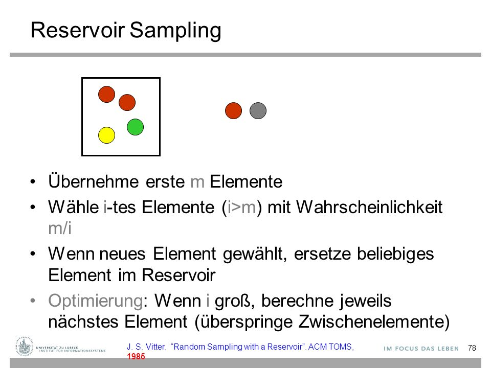 Reservoir Sampling Übernehme erste m Elemente
