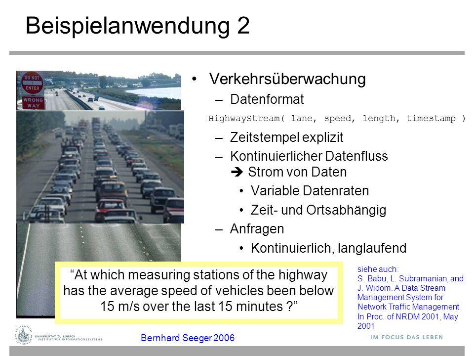 Beispielanwendung 2 Verkehrsüberwachung Datenformat