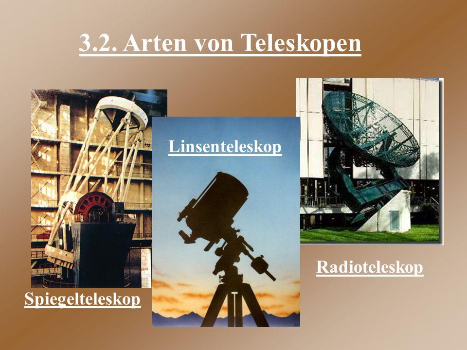 3.2. Arten von Teleskopen Linsenteleskop Radioteleskop Spiegelteleskop