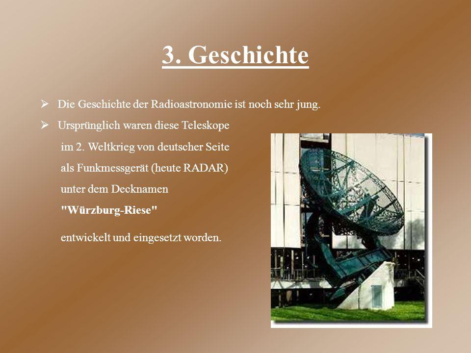 3. Geschichte Die Geschichte der Radioastronomie ist noch sehr jung.