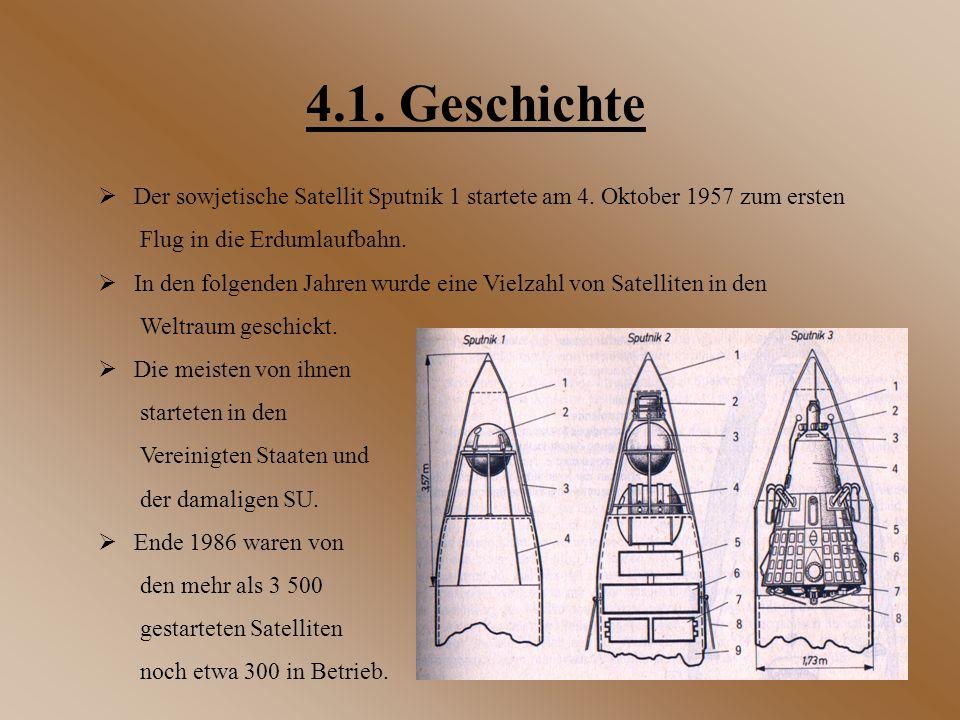 4.1. Geschichte Der sowjetische Satellit Sputnik 1 startete am 4. Oktober 1957 zum ersten. Flug in die Erdumlaufbahn.