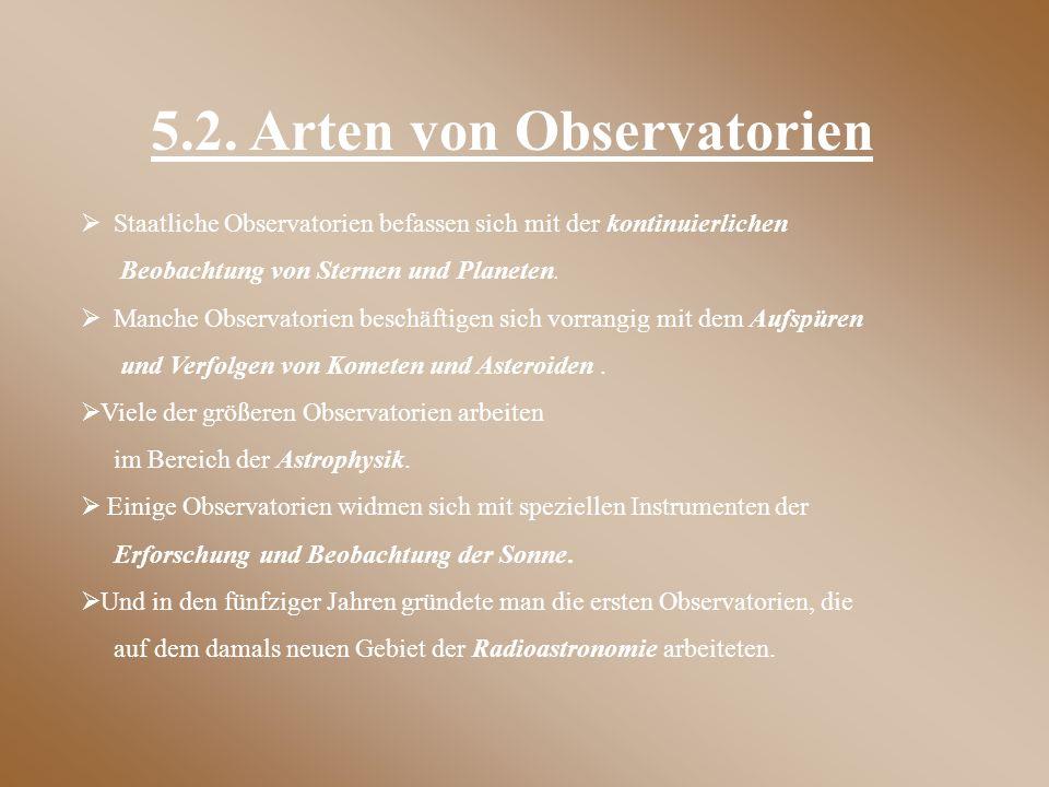 5.2. Arten von Observatorien