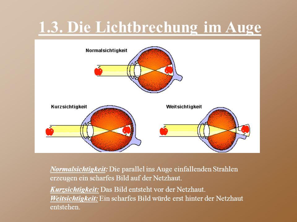 1.3. Die Lichtbrechung im Auge
