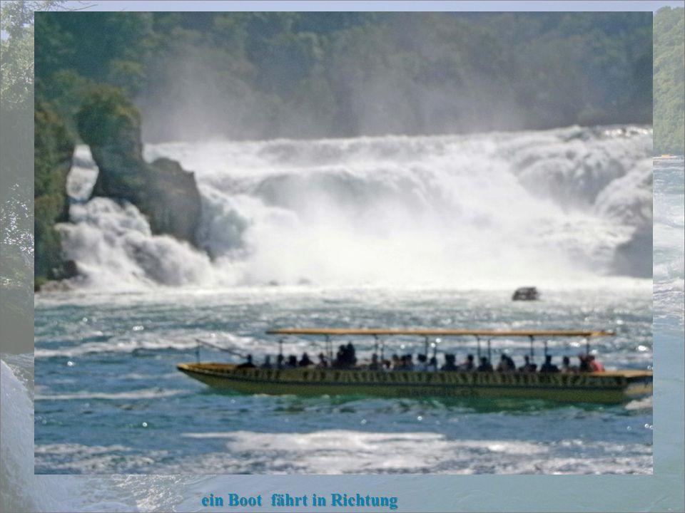 ein Boot fährt in Richtung Rheinfelsen