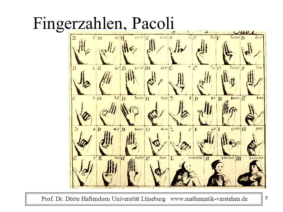 Fingerzahlen, Pacoli Prof. Dr. Dörte Haftendorn Universität Lüneburg www.mathematik-verstehen.de