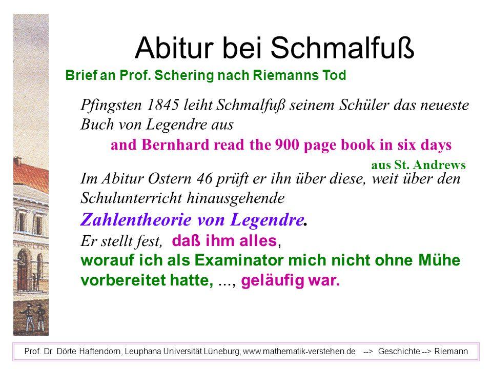 Abitur bei Schmalfuß Zahlentheorie von Legendre.