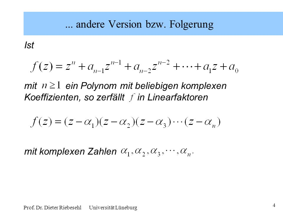 ... andere Version bzw. Folgerung