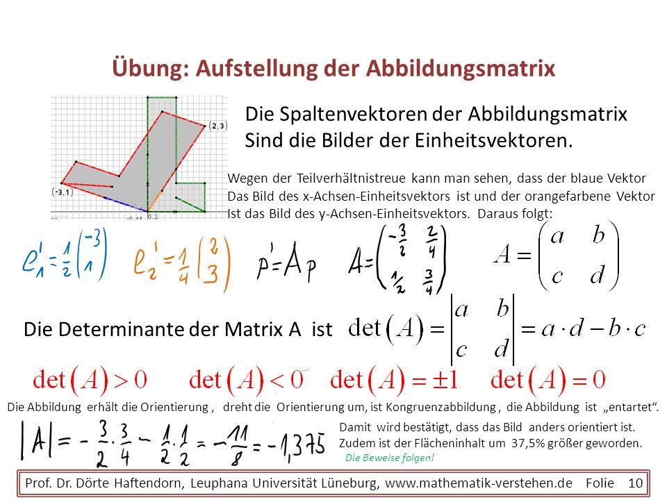 Übung: Aufstellung der Abbildungsmatrix