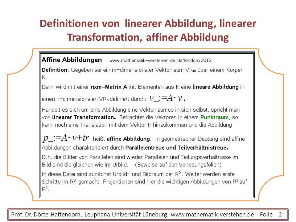 Definitionen von linearer Abbildung, linearer Transformation, affiner Abbildung