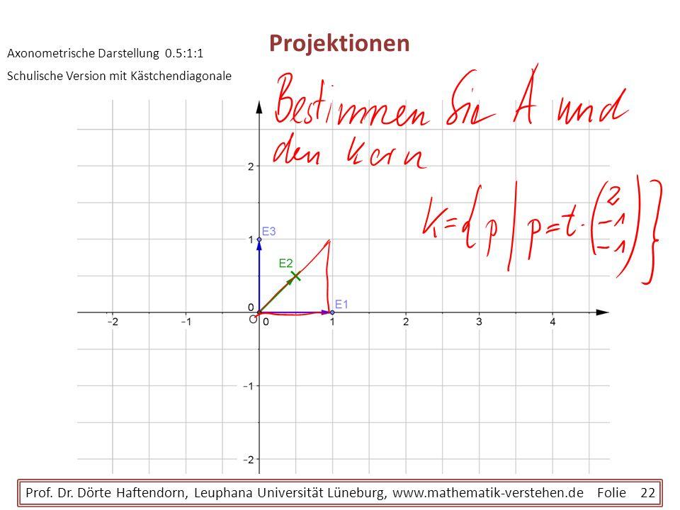 ProjektionenAxonometrische Darstellung 0.5:1:1. Schulische Version mit Kästchendiagonale.