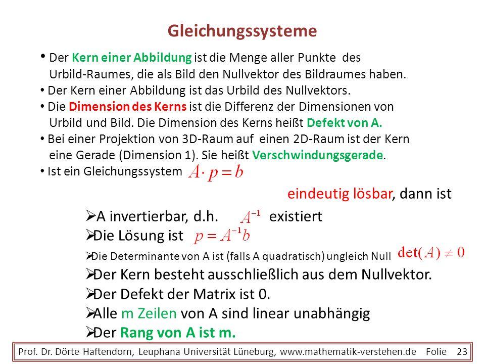 Gleichungssysteme Der Kern einer Abbildung ist die Menge aller Punkte des Urbild-Raumes, die als Bild den Nullvektor des Bildraumes haben.